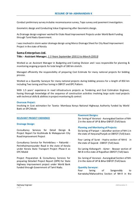 Highways Engineer Sle Resume by Highways Engineer Sle Resume Nardellidesign