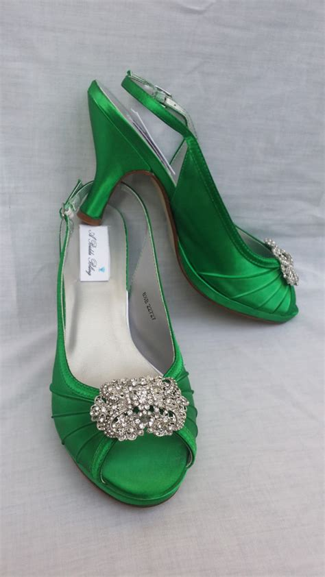 wedding shoes green bridal shoes sling back shoes