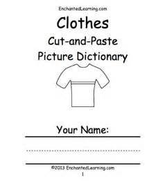 Clothes cut and paste picture dictionary a short printable picture