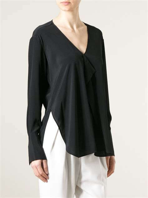 draped blouse dondup draped front blouse in black lyst