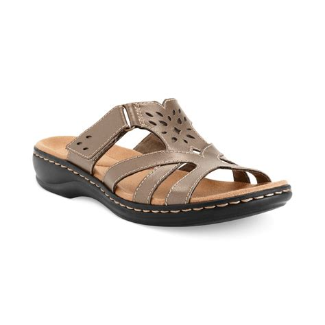 clarks sandals clarks womens shoes leisa plum sandals in gray pewter lyst