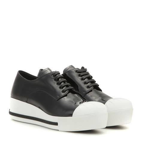 www silver sneakers miu miu patent leather platform sneakers in gray lyst