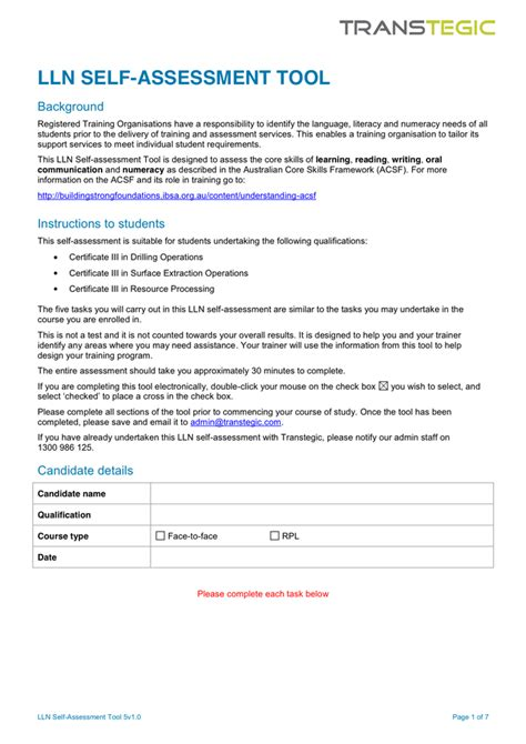 lln assessment template course evaluation form in word and pdf formats