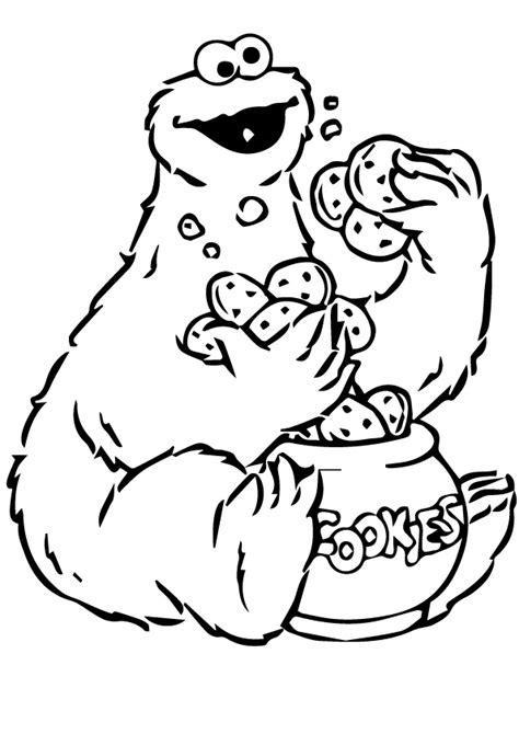 Cookie Monster Brings A Special Gift Coloring Page Cookie Coloring Pages Printable
