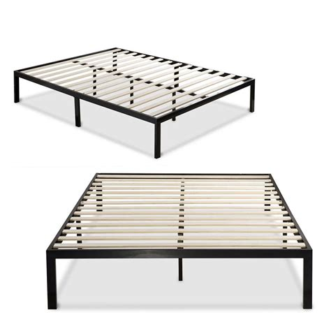 metal platform bed frame with wooden mattress support