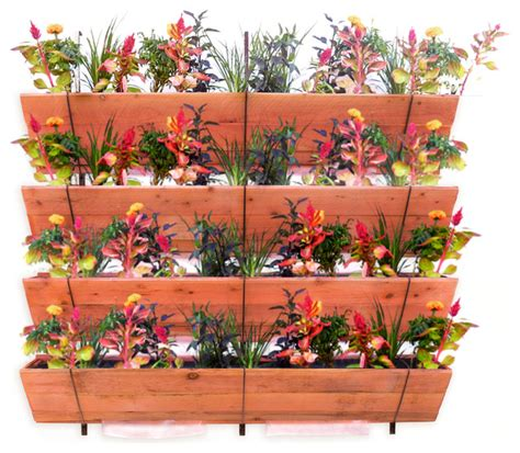 Hanging Vertical Garden Planters Four Tiered Hanging Vertical Garden Redwood 5