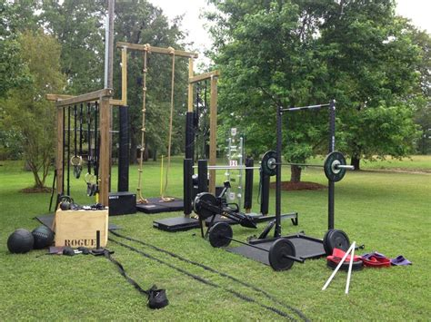 backyard gym equipment rope sled rig bars and plates b22fit pinterest