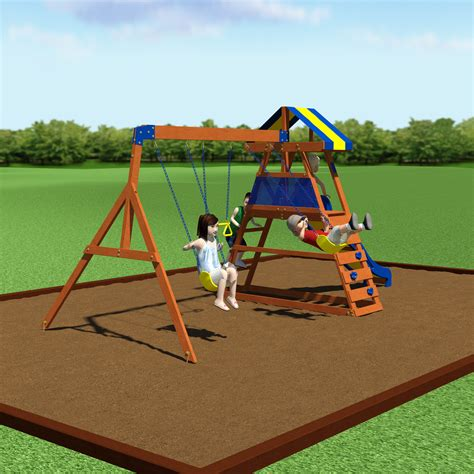 backyard discovery dayton cedar wooden swing set backyard discovery dayton all cedar swing set reviews wayfair