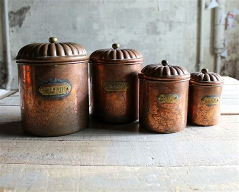 copper kitchen canisters 4 vintage copper kitchen canister set modern farmhouse copper and lakes
