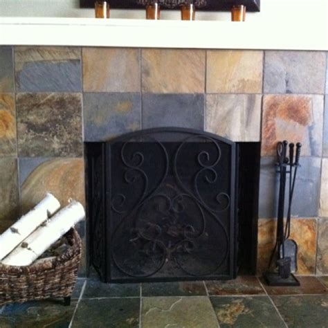 slate tile fireplace tile