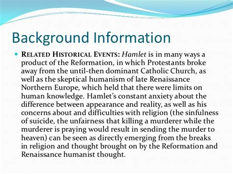 Background Essay by Hamlet Essay