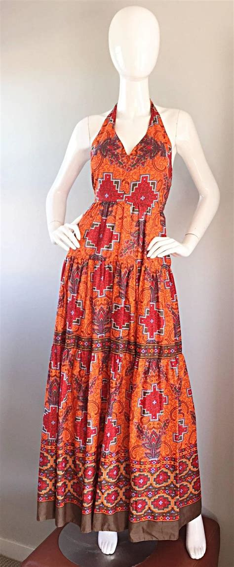 Id 0207 Ethnic Print Dress 1970s frank usher of couture boho ethnic tribal print halter maxi dress for sale at 1stdibs