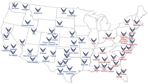 map of usaf bases top us air bases to live on spangled flags