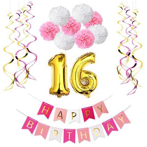 10pcs 130rb 4 6th sweet 16th birthday decoration kit happy birthday banner 10pcs foil whirls 8pcs paper