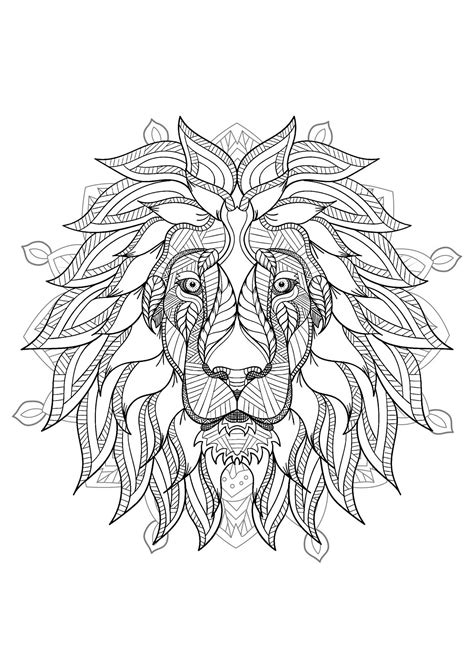 Mandala with elegant Lion head and geometric patterns - M