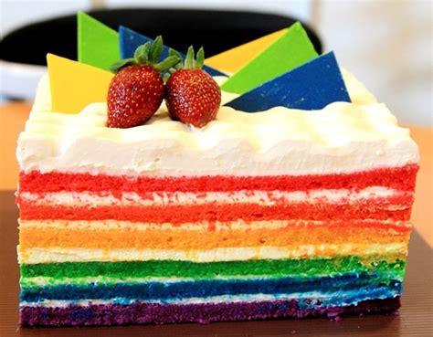 resep rainbow cake lembut mudah resep hari