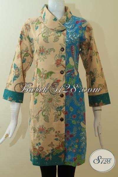 Batik Dress Bunga Biru baju batik formal wanita dewasa motif bunga kombinasi