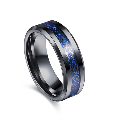 Steel Ring black 316l stainless steel ring for wedding band blue