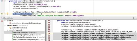 android layout exle code find sle code android studio