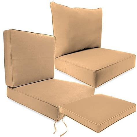bed bath and beyond cushions outdoor seat cushion collection in sunbrella 174 canvas camel