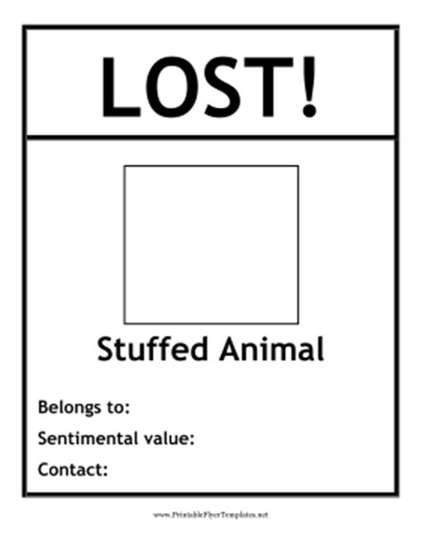 lost template lost stuffed animal flyer