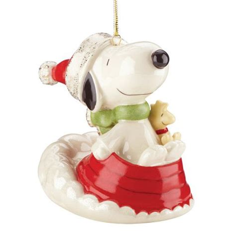 2014 lenox sledding with snoopy porcelain ornament