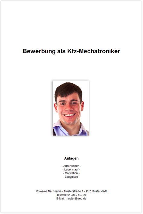 Bewerbung Deckblatt Kfz Mechatroniker Bewerbungsdeckblatt Kfz Mechatroniker Kfz Mechaniker