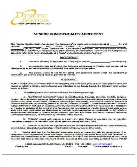 vendor confidentiality agreement template 41 free sle agreements