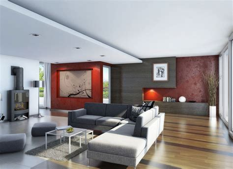 awesome living room wood flooring with red wallpaper decor