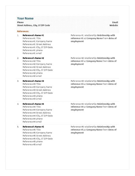 Reference Sheet Resume by Functional Resume Reference Sheet