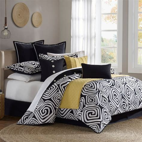 black white yellow comforter set google search