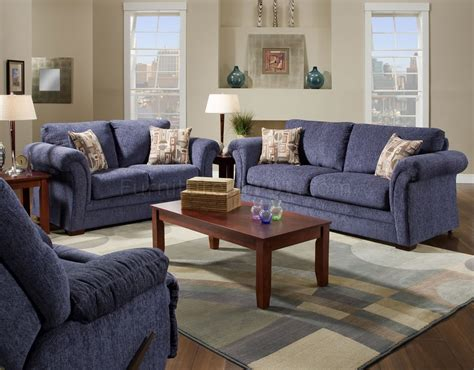 Blue Living Room Furniture Sets Plush Blue Fabric Casual Modern Living Room Sofa Loveseat Set