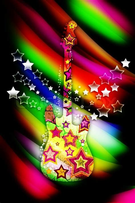 colorful guitar  stars   bright stock photo
