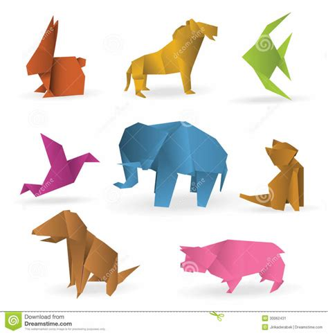 Different Origami - free coloring pages origami animals stock image image