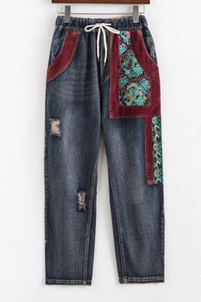 ripped pattern jeans new stylish drawstring waist ripped embroidered pattern