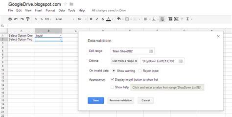 Spreadsheet Validation by Igoogledrive Spreadsheet Multi Sub Drop List