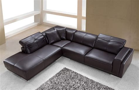 Modern Brown Leather Sectional by Divani Casa Adagio Modern Brown Leather Sectional Sofa
