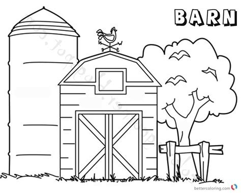 barn coloring pages barn coloring pages tree by the barn free printable