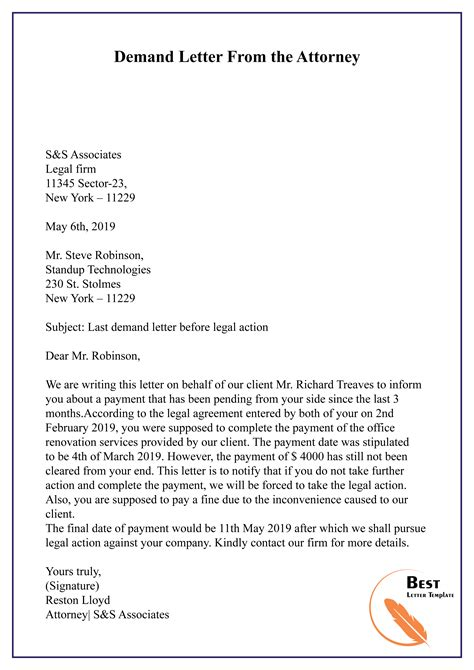 demand letter attorney letter template