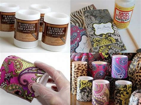 candele decoupage napkin covered candles tutorial easy craft