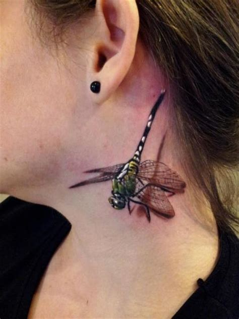 realistic dragon tattoos realistic neck dragonfly 3d by rock ink