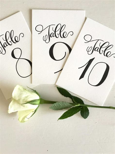 table numbers for wedding reception calligraphy table numbers wedding table numbers
