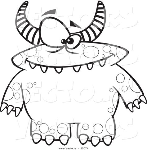 monster birthday coloring page vector of cartoon spotted and horned monster outlined