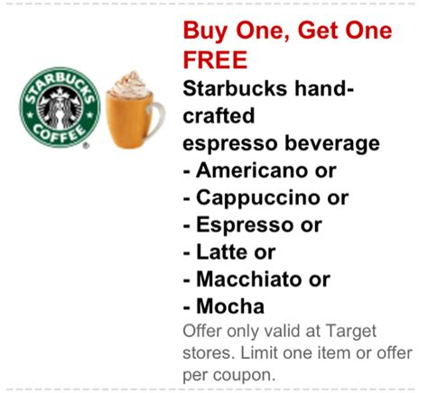 Handcrafted Espresso Beverages Starbucks - target buy one get one free starbucks crafted drinks