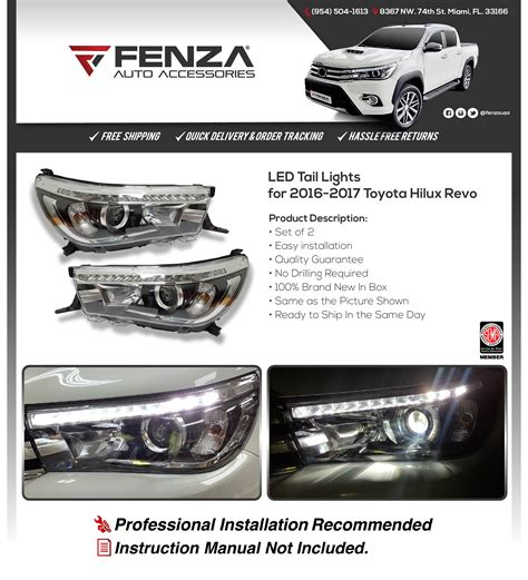 led headlights set for 2016 2017 toyota hilux revo