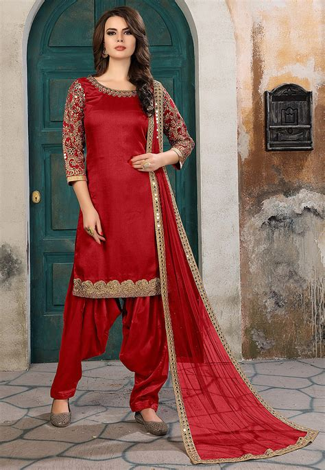 embroidered art silk punjabi suit  red kch