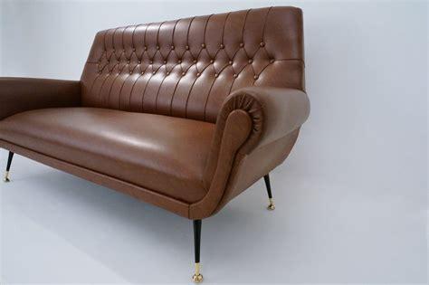 vintage vinyl sofa 1950 s saporiti sofa original brown vinyl italian in