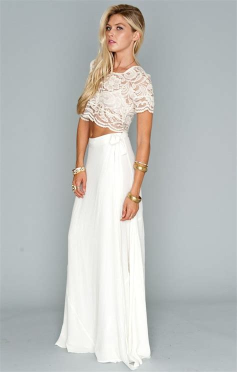 maxi skirt and lace top longer and tucked in okay might