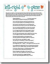 left and right game birthday party games themed party ideas