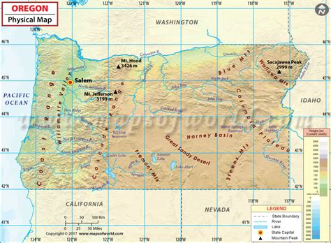 oregon on a map of usa physical map of oregon oregon physical map